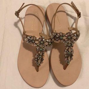 Thong crystal sandals